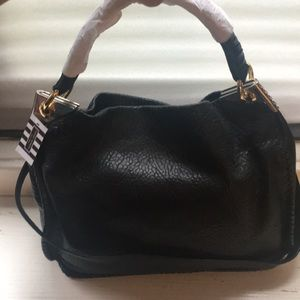 Black Soft Pebbled Leather Henri Bendel Hobo Bag
